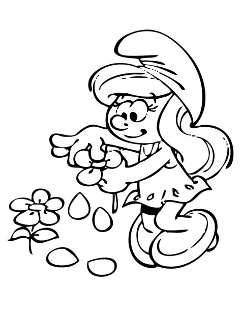 smurfette with flower coloring page h m coloring pages