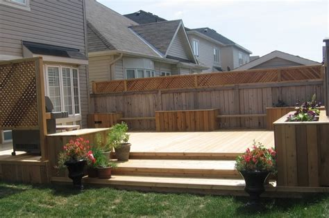 Well Designed Kitchens by Cedar Backyard Deck With Benches And Flower Boxes