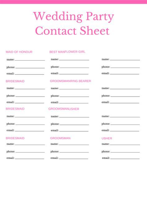 wedding party contact sheet printable