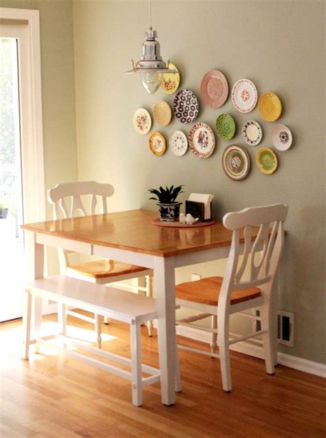 how to decorate a small dining room table against the wall two chairs one bench seat seating for four without paying much and