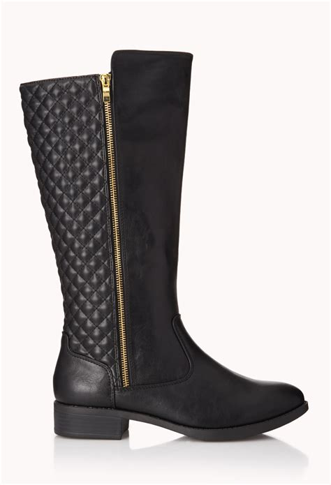 forever 21 iconic quilted boots in black lyst