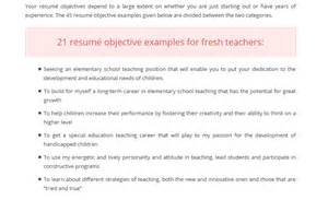 Career Objective For Teachers 45 Attractive Resume Objective Examples For Teachers