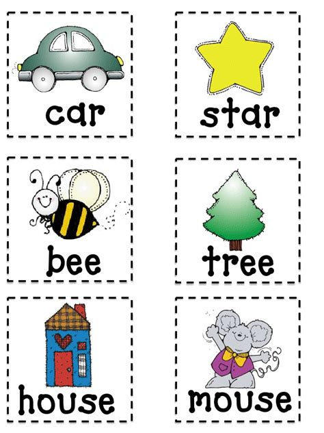 printable word picture matching games rhyming memory game pdf beginner reader pinterest