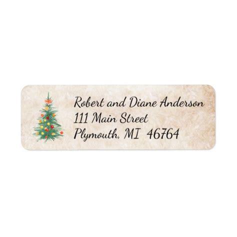 christmas tree christmas address labels zazzle