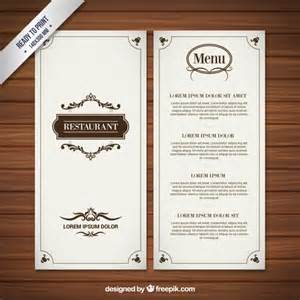 sle menu template restaurant menu in retro style vector free