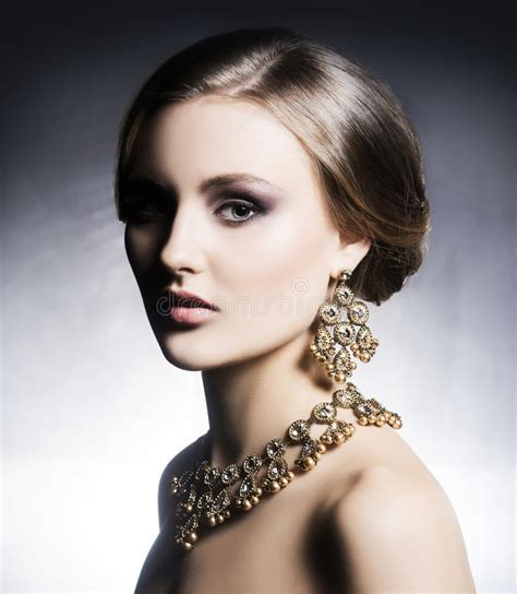 beautiful rich beautiful and rich in jewels stock photo