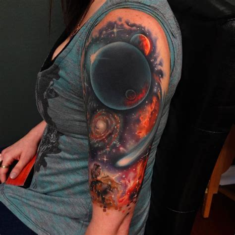 galaxy sleeve tattoo realistic galaxy half sleeve