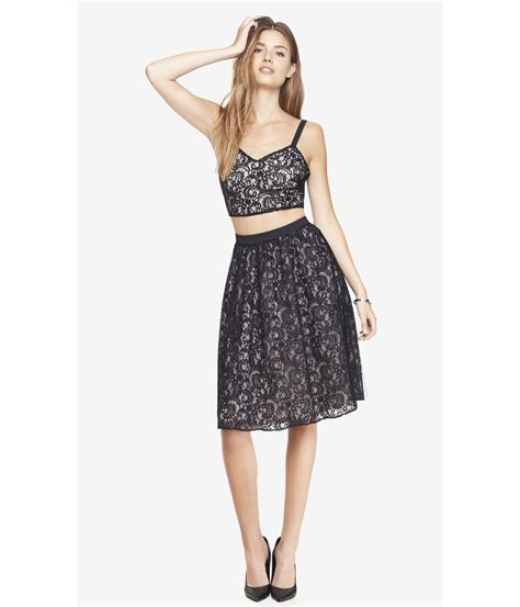 express lace high waist midi skirt in black pitch