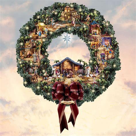 thomas kinkade nativity village wreath  hayneedle