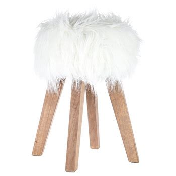Faux Fur Desk Stool by White Faux Fur Wood Stool Hobby Lobby 1123256