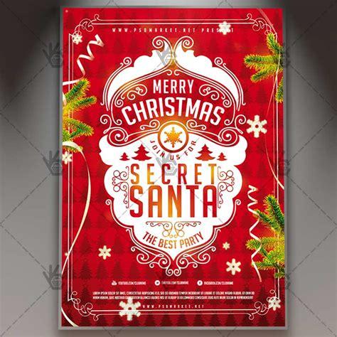 Secret Santa Event Christmas Flyer Psd Template Psdmarket Secret Santa Flyer Templates