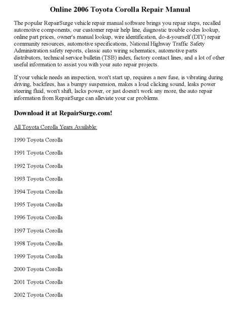 online auto repair manual 2006 toyota corolla spare parts catalogs 2006 toyota corolla repair manual online by clark0951 issuu