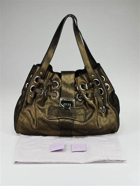Jimmy Choo Metallic Calfskin Handbag by Jimmy Choo Bronze Metallic Suede Ramona Bag Yoogi S Closet