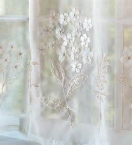 Embroidered hydrangea sheer curtain panels tiers valances and swag