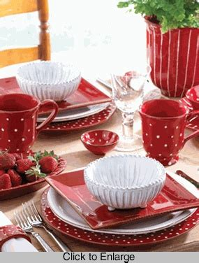 Dining Room Table Setting Dishes Table Setting In Rosso Vecchio Dot Dinnerware Vietri Dining Room And Table Decor