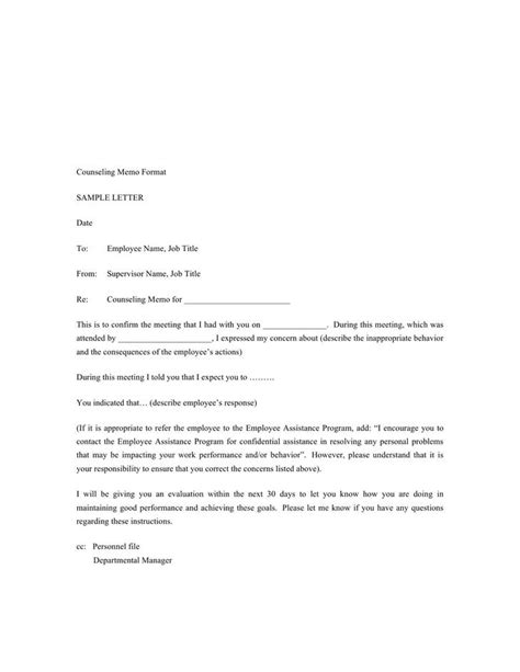 letter of counseling template hr warning letters free premium templates