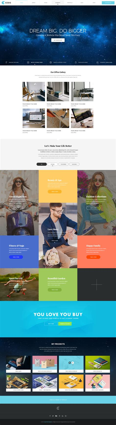 portfolio sections cesis ultimate multi purpose psd template by