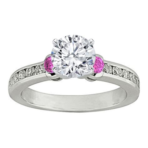 engagement ring three pink sapphire