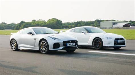 nissan f top gear drag races jaguar f type svr vs nissan gt r