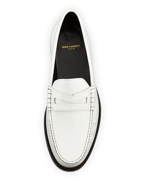mens white leather loafers lyst laurent classic leather loafer white in