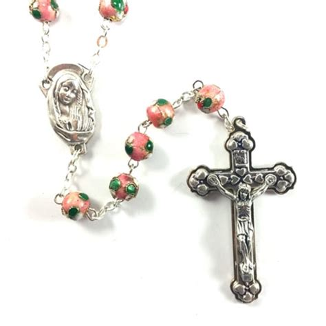 cloisonne rosary cloisonne pink bead rosary