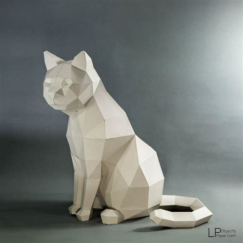 Make Paper Sculpture - cat model cat low poly cat sculpture pet cat kit