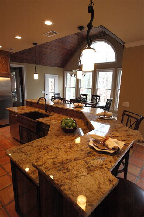 sophisticated white mosaic granite top bar kitchen island