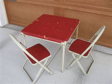 Folding Card Table And Chairs Mid Century Childs Card Table And Chairs Folding Chairs Metal Vinyl Retro Home Decor