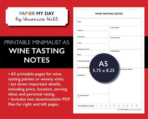 wine journal template 74 best images about organization filofax and planner