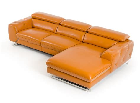 orange leather sofa divani casa modern orange leather sectional sofa