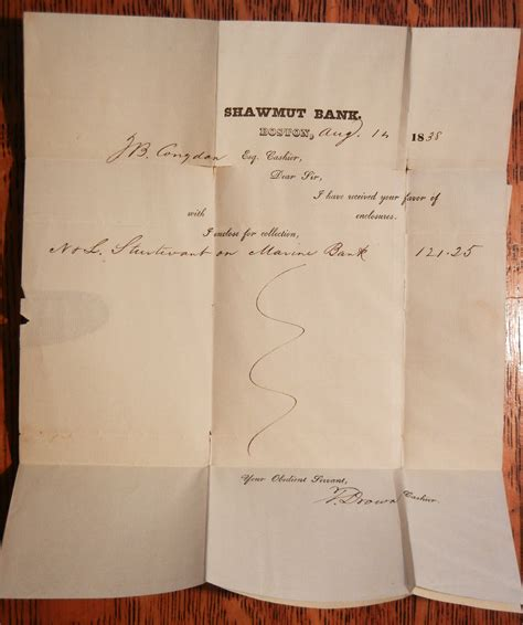 Federal Bank Letterhead boston massachusetts 1838 shawmut bank letterhead