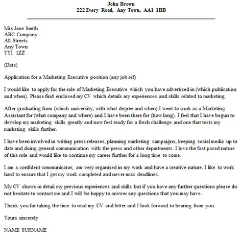 Cover Letter For Marketing Application marketing executive cover letter exle icover org uk