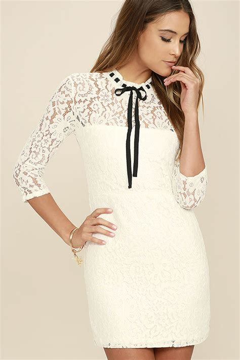 Lovely White Dress Lace Dress Three Quarter Sleeve