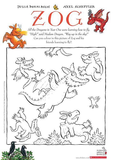 coloring book giveaway zog colouring scholastic club