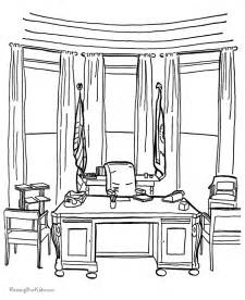 what color is the white house the oval office coloring page 003
