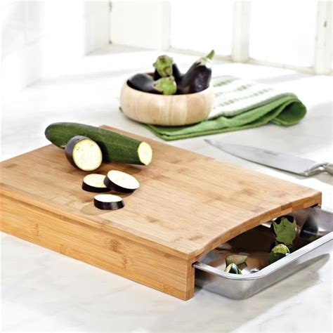 cutting board with trays ksp natura bamboo cutting board with scrap tray