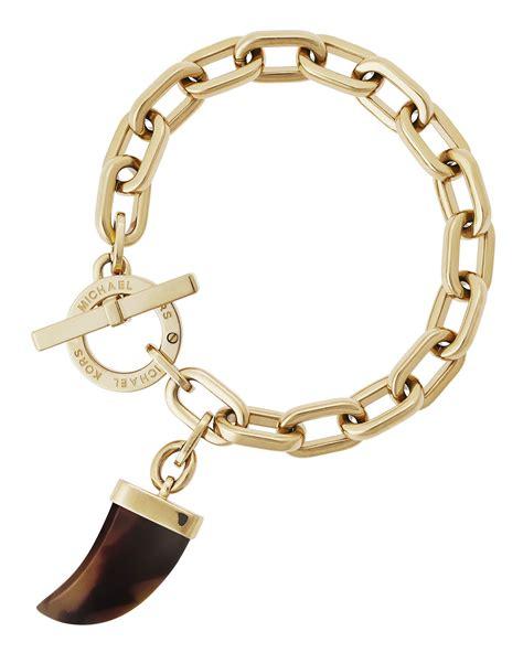 michael kors tusk charm link bracelet in metallic lyst