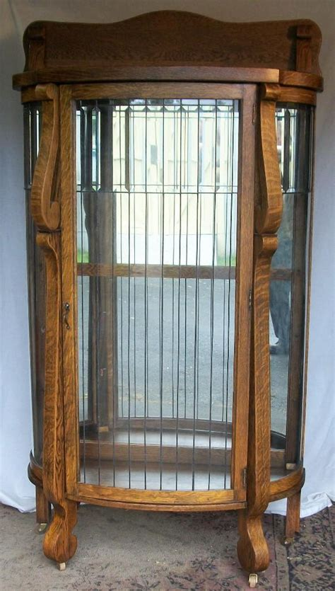oak china cabinet leaded glass door and sides ebay
