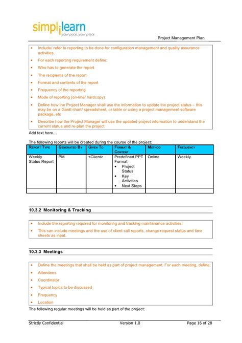 information plan template project management plan template