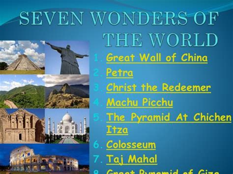 7 Great For by New Seven Wonders Of The World