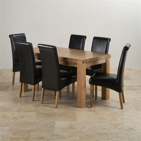 Chunky Solid Oak Dining Table And 6 Chairs Oak Dining Sets Modern Chunky 5ft Oak Table 6 Black Leather Chairs