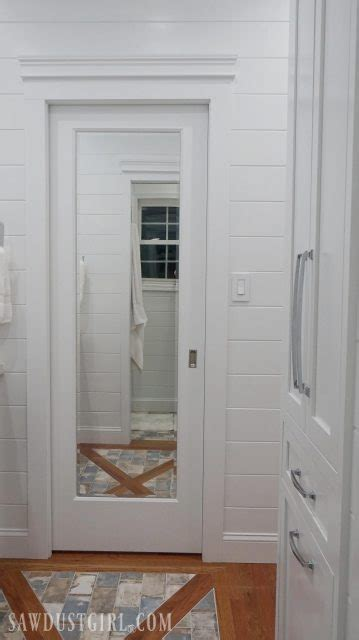 mirrored pocket door jack  jill bathroom update