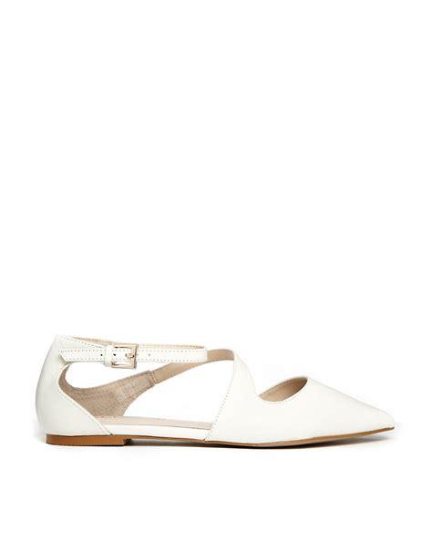 white pointed flat shoes aldo aldo flat pointed white asymmetric flat shoes at asos