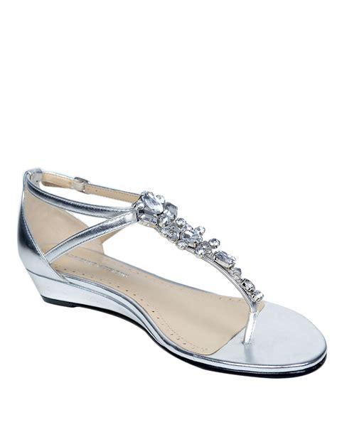 silver wedge sandals with rhinestones adrienne vittadini veaber leather rhinestone t wedge