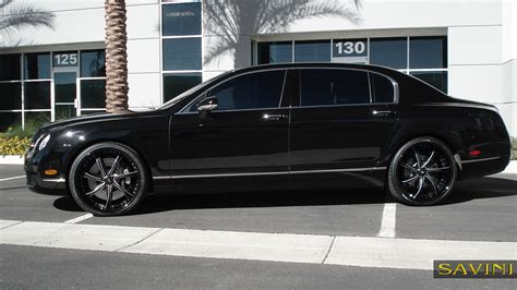 white bentley black rims flying spur savini wheels