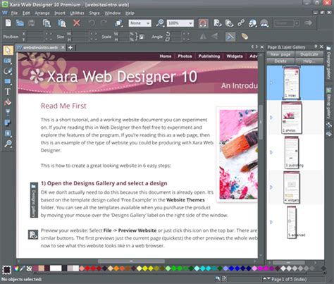 xara web design tutorial xara web designer 10 premium indezine review