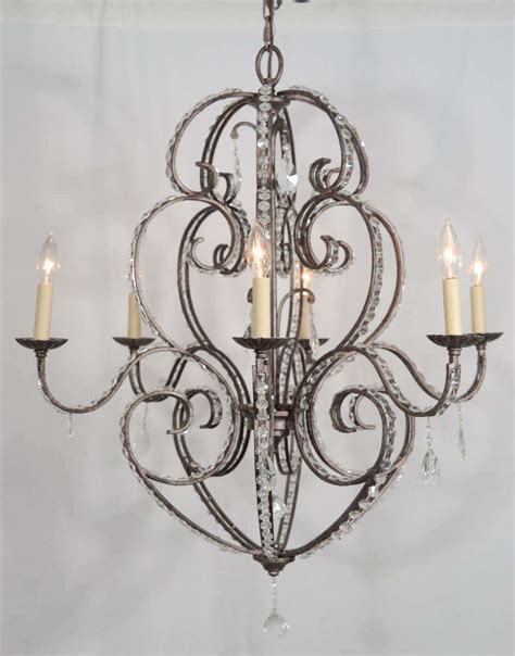 Chandelier Arms Italian Eight Light Chandelier With Soft Scrolling Arms For Sale At 1stdibs