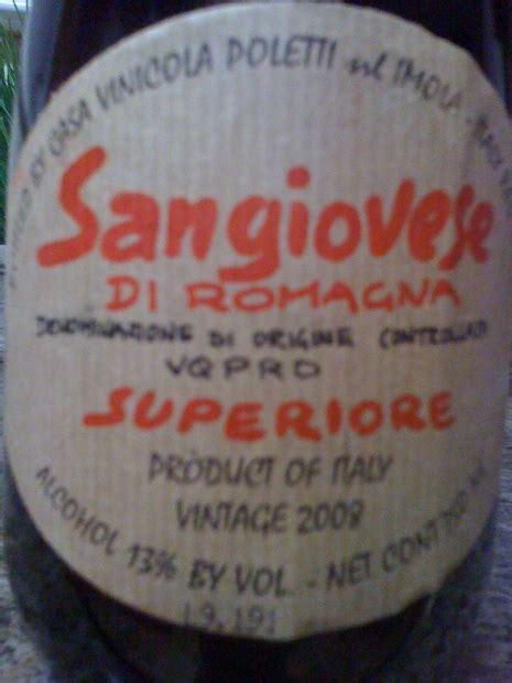 casa vinicola poletti 2009 casa vinicola poletti s r l sangiovese di romagna
