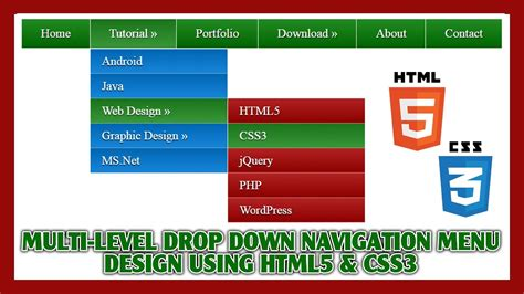 adding css3 multi level drop menu for multi level drop navigation menu using html5 css3