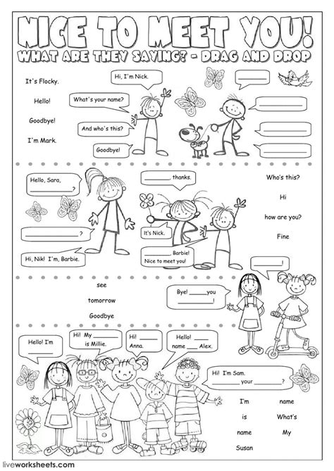 greetings worksheets for greetings and farewells interactive and downloadable